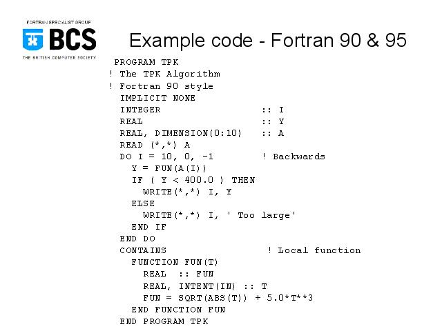 Example code - Fortran 90 & 95