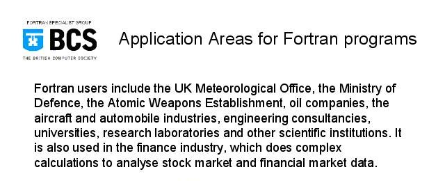 Application Areas for Fortran programs