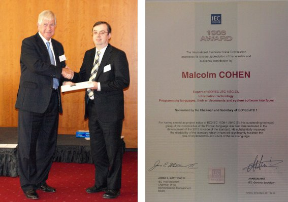 Malcolm Cohen receiving IEC 1906 award