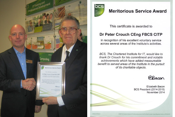 Peter Crouch receiving BCS Meritorious Service Award